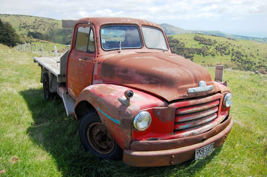 Old red chevy pickup truck