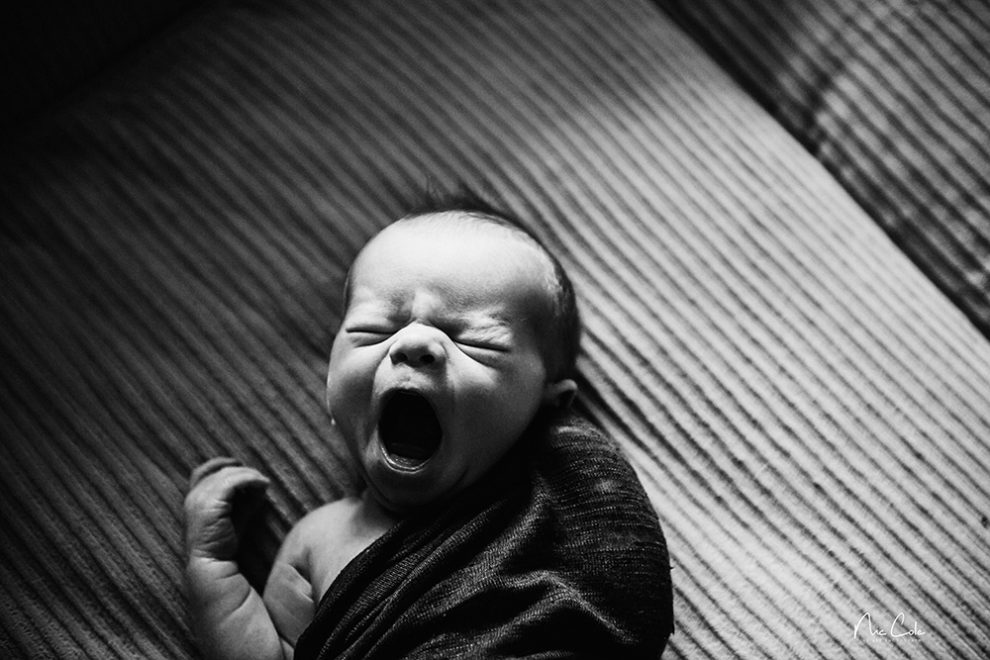 Yawning baby with newborn photography