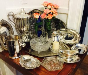 shiny dishes and decor with silver polish