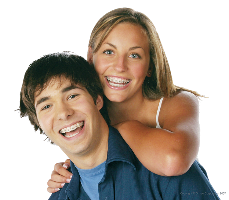 a teenage girl and boy with braces