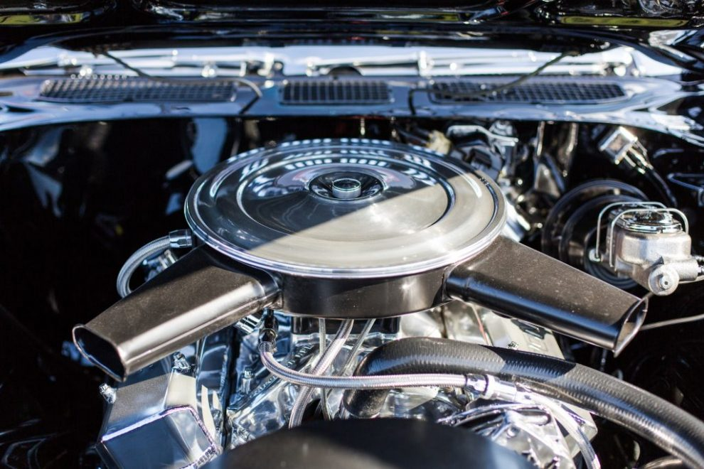 brightly polished car engine