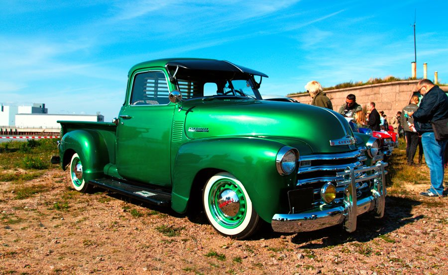 Bright green Chevy truck