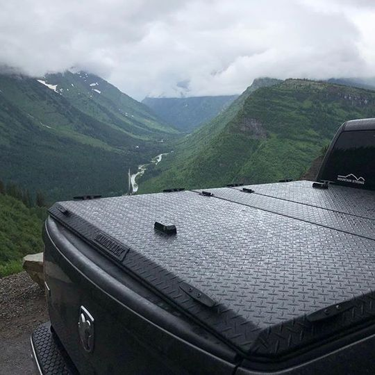 black Diamondback tonneau cover in front of scenic view