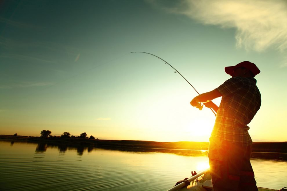 fishing with sunset