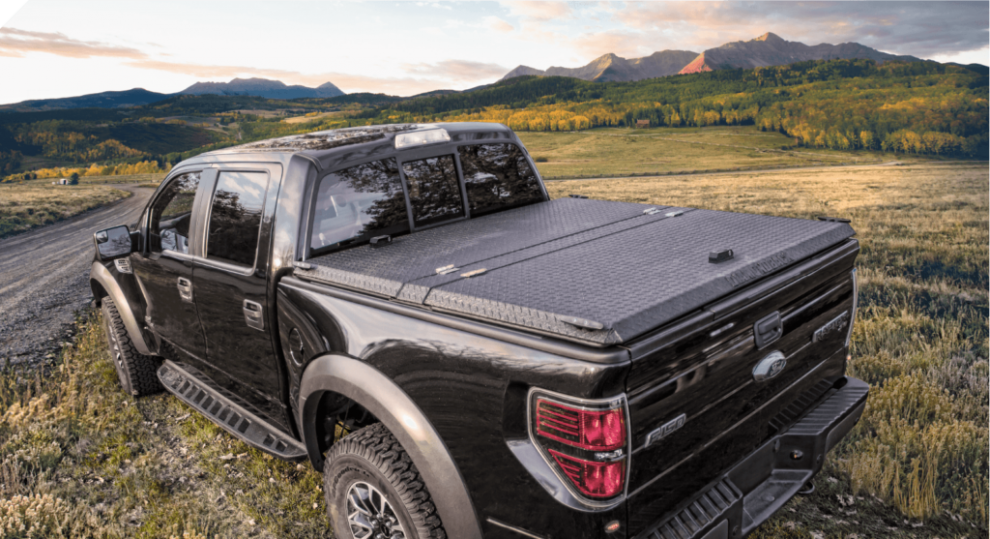 black truck with tonneau cover