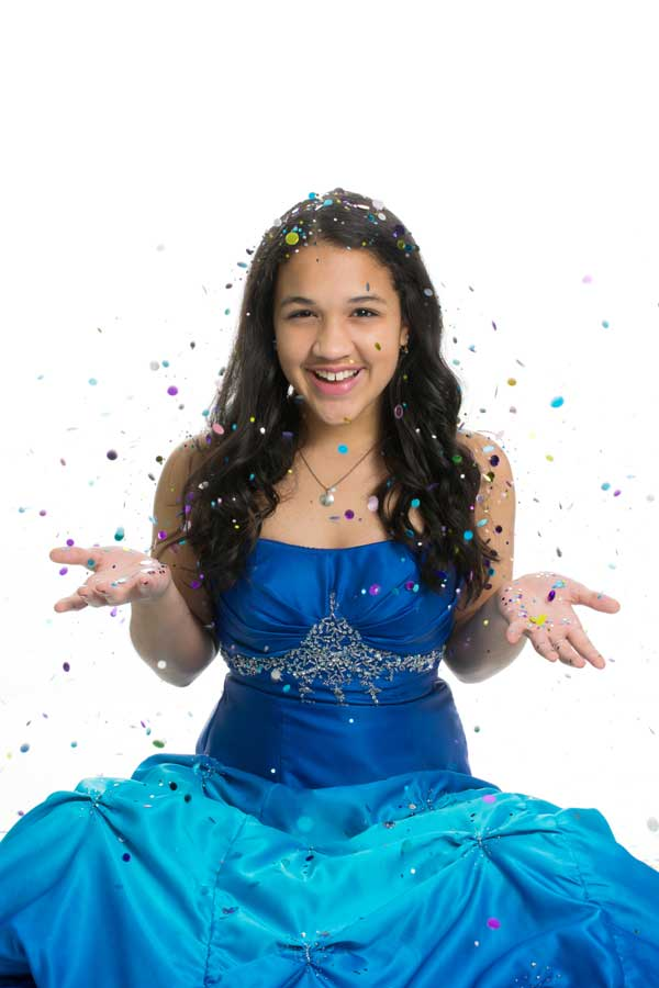 girl in blue formal dress - San Antonio Quinceanera