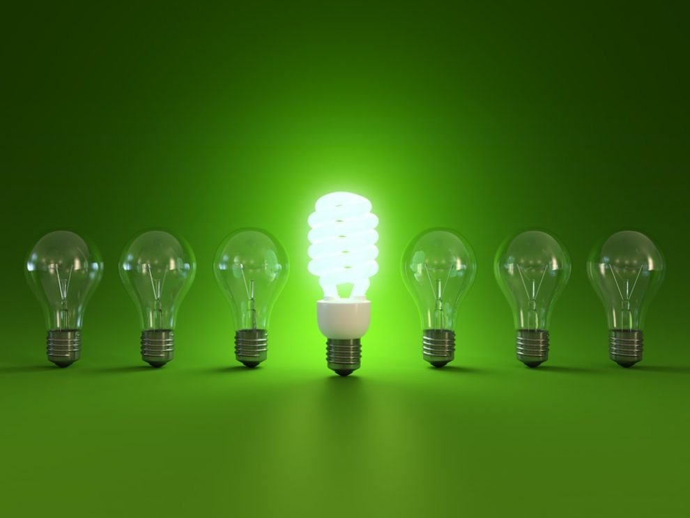 Energy Saving Light Bulb next to traditional light bulbs